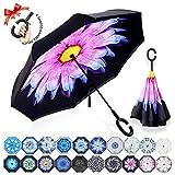 ZOMAKE Inverted Stockschirme, Innovative Schirme Double Layer, Winddicht Regenschirm, Freie Hand,Umgedrehter Regenschirm mit C Griff für Auto Outdoor (Purpurrote Blume)