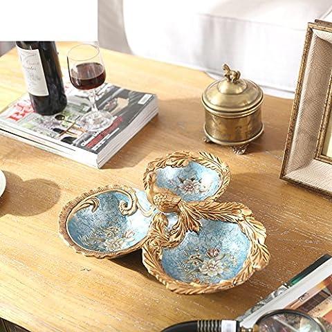 Classique européen Paon trois Fruits séchés, modèle Maison, assiettes à fruits multifonction
