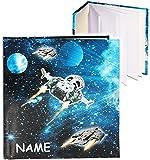 Unbekannt Notizbuch / Tagebuch -  Weltraum - Space - Raumschiff  - incl. Name - blanko weiß - 96 Seiten - Dickes Buch gebunden - Reisetagebuch / Poesiealbum - Softcov..