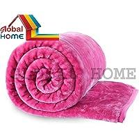 Global Home Microfiber 400 TC Blanket (Pink_Double)