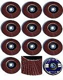10 Standard Fächerscheiben Ø 115 mm x 22,23 mm Korn 40 Schleifscheiben für Winkelschleifer Schleifmoppteller Holz & Metall, braun