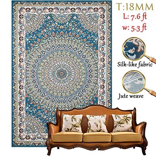 Pn&cc Vintage Wohnzimmer Teppich traditionelle Grenze Floral weichen Teppich Haustier Schnarchen und Kinderspiel Teppich weich, komfortabel, tragbar und leicht zu reinigen -