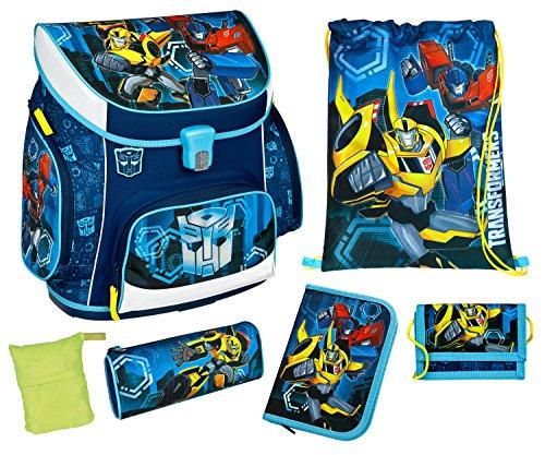 Scooli TFJK8252AZ - Schulranzen Set Campus UP mit Federmappe, Schlamper, Brustbeutel und Regenschutzhülle, leicht, ergonomisch, Transformers mit Bumblebee und Optimus Prime Motiv, 6 teilig