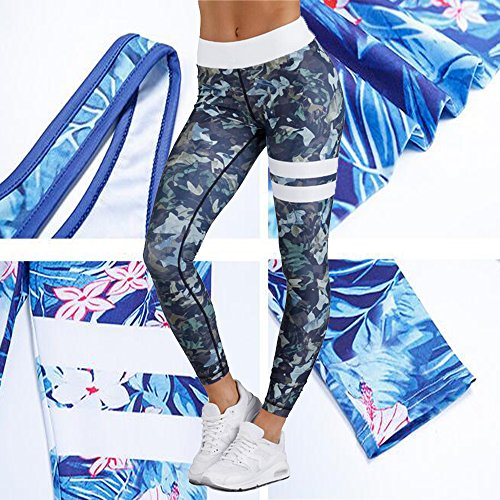 KINDOYO éLastiques Gym Yoga Workout Taille Haute Pants Fitness Leggings Pantalon camouflage