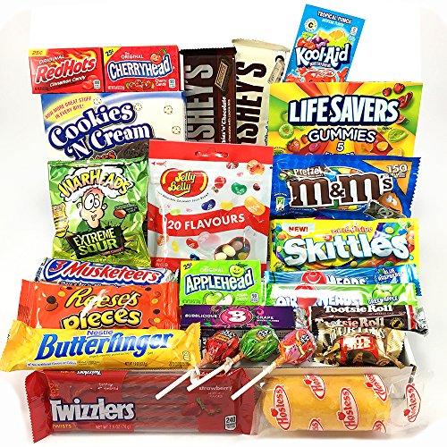 Großer Amerikanische Süßigkeiten Geschenkkorb | Süßigkeiten aus den USA | Auswahl beinhaltet M&M, Hersheys, Reeses, Jelly Belly, Skittles | 26 Produkte in einer tollen retro - Tootsie Roll Große