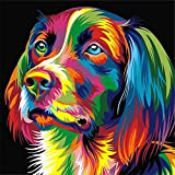 DIY 5D Diamond Painting, Crystal Rhinestone Diamond Embroidery Paintings Pictures Arts Craft for Home Wall Decor Colorful Dog 11.8 X 11.8 Inch