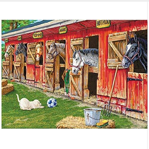 LMTQWC Diamant Malerei DIY Kreuzstich Bild 5D Diamant Stickerei Ranch Tiere Pferde Voll Platz Mosaik Strass Malerei 40X50CM (Ranch Bilder)