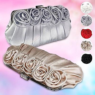 Wocharm Ladies Satin Silk Rose Clutch Bag Evening Party Prom Wedding Bridal Handbag
