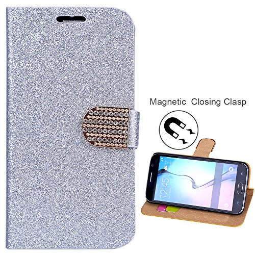 Coque Galaxy S7, fishberg Housse Luxe Bling Glitter Design Étui à rabat magnétique en cuir PU stand up Étui portefeuille Housse de protection pour Samsung Galaxy S7avec fentes pour carte d'identité/b argent
