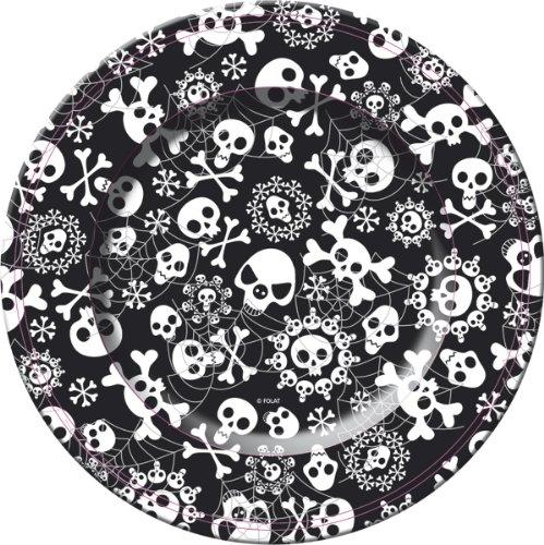 cama24com 8 Pappteller Bones, Halloween Party, Totenkopf Piraten Party Palandi®