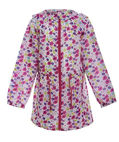 Girls Kagoule Kagool Lightweight Hooded Showerproof Rain Jacket In A Bag (7-8 Years, Flower)