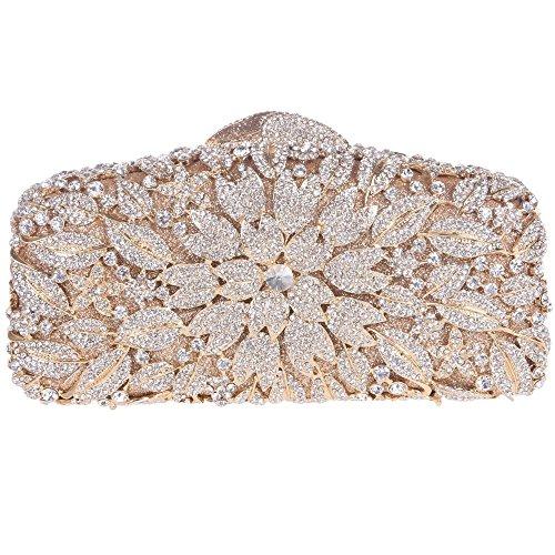 Santimon Clutch Delle Donne Flore Borsa Di Strass Diamante Cristallo Da Festa di Nozze Sera Con Tracolla Amovibile e Pacco Regalo 8 Colori oro puro
