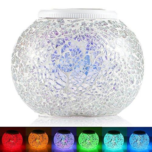 GRDE® Lámpara Solar cambiante del Color del Mosaico para Noche, Lámpara Cristal Impermeable para Jardín, Mesa, Terraza, Decoración Interior (Silvar)