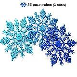 Muitobom, glitzernder Schneeflocke aus Kunststoff, für Weihnachten, 10 cm, 36 Stück blau