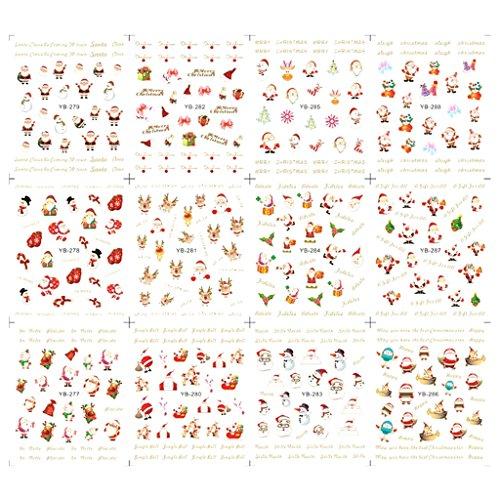 LQZ 12 Muster Nagel Sticker Aufkleber Weihnachten Nikolaus Winter Schneeflocken