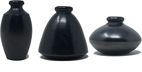 Handmade.Global Authentic Black Pottery Miniature Flower Vase (4 X 3 X 3 inches) Set of 3