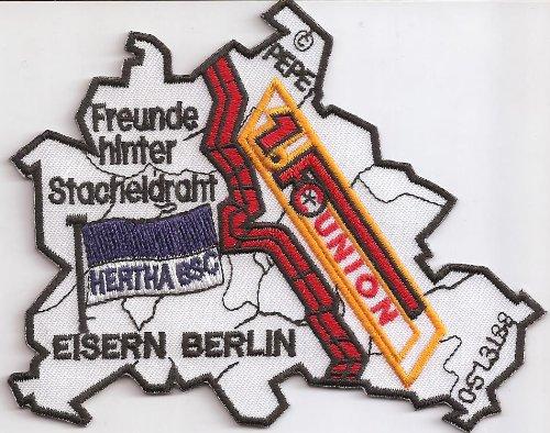 1FC Union Hertha BSC Freunde hinter Stacheldraht Eisern Berlin Aufnäher Abzeichen -