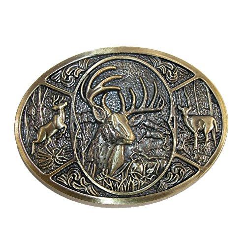 CTM - Hebilla de cinturón - para hombre plateado Bronze Deer Talla única