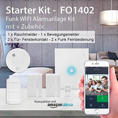 Multi Kon Trade® WLAN Alarmanlage Haus - Smarthome Alexa kompatibel – Funk Alarmsystem mit Fernbedienung – inkl. Bewegungsmelder und Rauchmelder