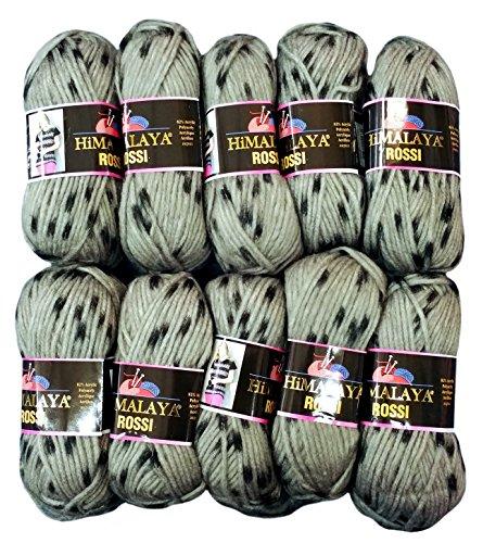 10 x 50 Gramm Strickwolle Himalaya Rossi mit Tupfer, 500 Gramm Wolle zweifarbig zum Stricken (grau schwarz 81207) -