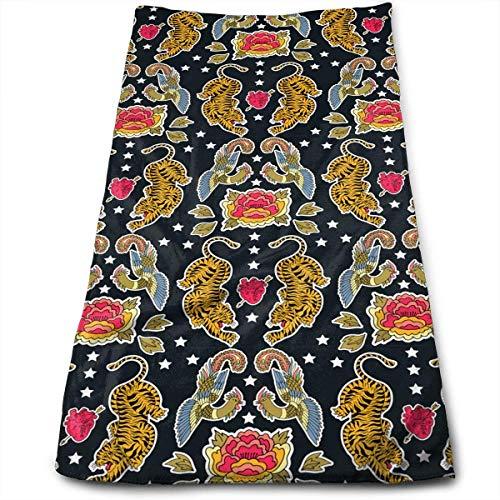 BBABYY Tiger Dragon Bird Flower Super Soft Polyester Extra-Absorbent Bath Towel Hand Towel Hair Towel 12 X 27.5 Inch/30cm X 70cm (Dish Rack Apple)