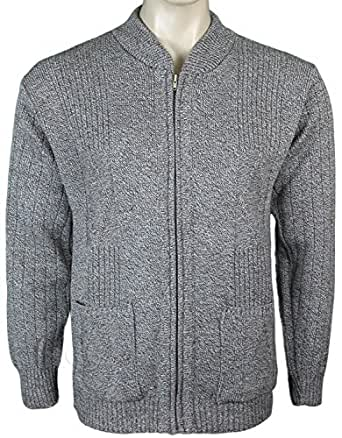 Mens Knitted Cardigan Classic Style Cardigans V Neck Zipper Jumper Plain Coloured (Medium, Beige)