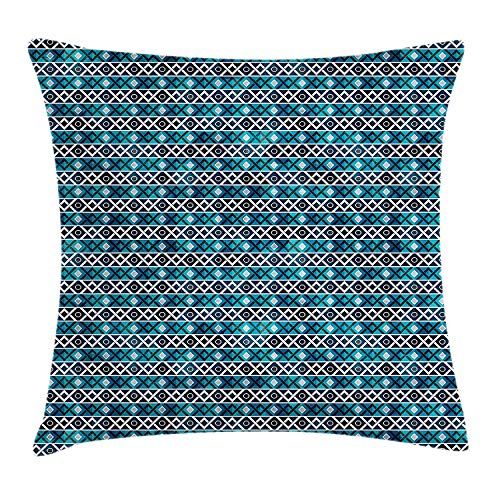 VVIANS Native American Throw Pillow Cushion Cover, Retro Pattern Grunge Effect Zigzags Horizontal in Oceanic Colors, Decorative Square Accent Pillow Case, 18 X 18 inches, Turquoise Blue White (Spirit American Light Blue)