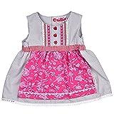 Bavariashop Dirndl Kleidchen, Süßer Einteiler, Angenähte Schürze, 100 % Baumwolle, Farbe Grau Rosa, Tracht für fesche Mädchen Size 62