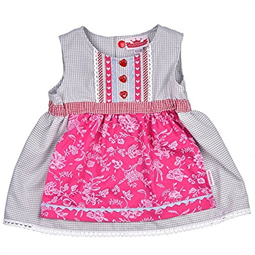 leidchen, Süßer Einteiler, Angenähte Schürze, 100 % Baumwolle, Farbe Grau Rosa, Tracht für fesche Mädchen Size 62 ()