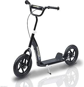 Homcom Kinderroller Scooter Tretroller Cityroller Kinder Roller Kickboard 12 Zoll Schwarz 120 X 52 X 80 88 Cm Sport Freizeit