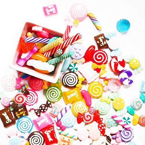 Candy Scrapbooking (lzn 30 Stücke DIY Scrapbooking Telefon Fall Dekor Handwerk Miniatur Gefälschte Harz Lollipop Candy Zubehör)