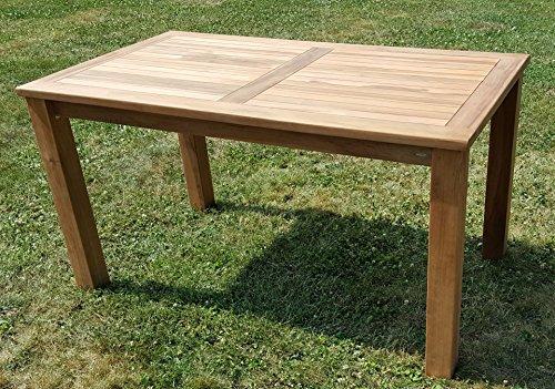 Wuchtiger Teak Bigfoot Gartentisch 140x80 Holztisch Teaktisch Garten