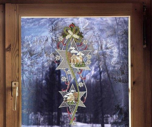 Fensterdekoration von ars-vivendi Weihnachtsfensterbild Sterne mit Kirche und Haus 19 x 51 cm (BxH) echte Plauener Spitze ® inkl. Saughaken Landhausdeko
