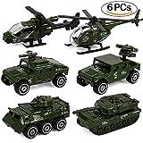 Tacobear 6pcs Armee Fahrzeug Spielzeug Druckguss Militärfahrzeuge Set Armee Modelle Auto Spielzeug Tank, Jeep, Hubschrauber, LKW für Kinder Kleinkinder