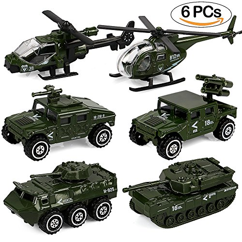 Tacobear Army Vehicle Toy Set Original Color Diecast metal Metal Vehicles Play set Helicóptero Tank Truck Jeep Armored Car para niños