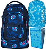 satch pack Waikiki Blue 3er Set Schulrucksack, Heftebox & Regencape Blau