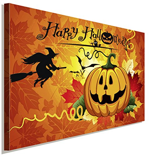 Halloween Kuerbis und Hexe Leinwandbild LaraArt Studio Wanddeko Wandbild 150 x 100 (Kostüm Halloween Galerie)
