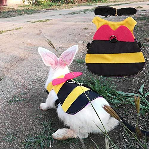 HEEPDD Kaninchen Geschirr und Leine Set Süß Biene Style Hase Weste Kleine Tier Einstellbare Soft Harness für Spazierengehen Joggen(L)