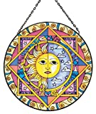 Fountasia International Glasdekoration, rund, zum Aufhängen, Motiv Sonne/Mond, 25,4cm