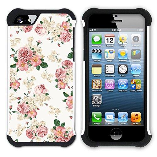 Graphic4You Blume Blumen- Muster Hart + Weiche Kratzfeste Hülle Case Schale Tasche Schutzhülle für Apple iPhone SE / 5 / 5S Design #3