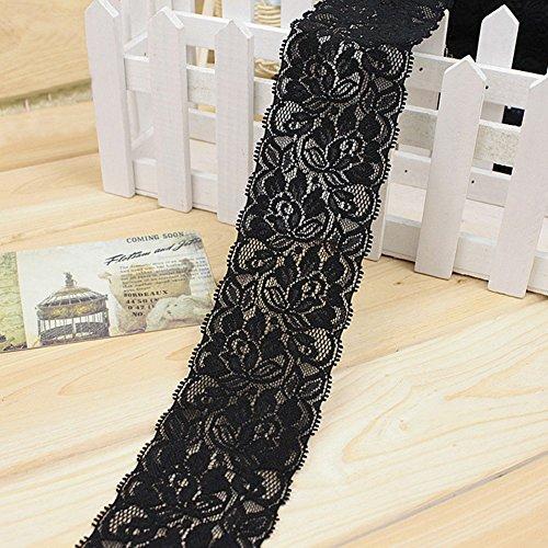 1M Ancho Elástico de Encaje Cinta Tela Manualidades Faldas Cortina Costura Bricolaje (Negro) - Negro, free size