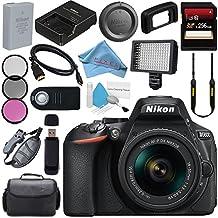 Nikon D5600 DSLR Camera With 18-55mm VR AF-P Lens (Black) 1576 + 256GB SDXC Card + Card Reader + Professional 160 LED Video Light Studio Series Bundle