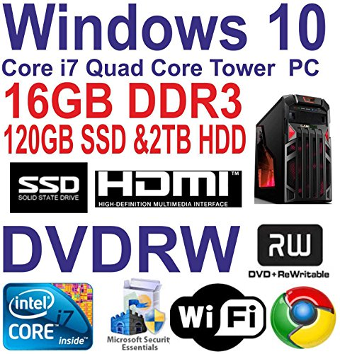 Best Saving for Windows 10 Core i7 Quad Core Gaming Tower PC16GB DDR3 -120GB SSD & 2TBHDD DVDRW Reviews