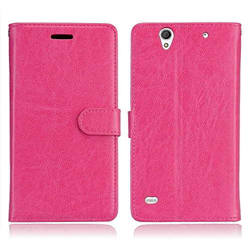 BONROY Sony Xperia C4 Premium Leather Wallet Cover Case for Sony Xperia C4-(Dika Shi-3 Card Rose Red)