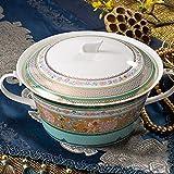 WML Bowl Vajilla Cuenco de Sopa del Pastel-Estilo Chino del Cuenco en Colores Pastel de la combinación del vajilla de cerámica del hogar de 9 Pulgadas con la Tapa