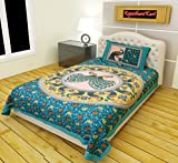 #7: RajasthaniKart Classic 144 TC Cotton Single Bedsheet with Pillow Cover - Abstract, Green