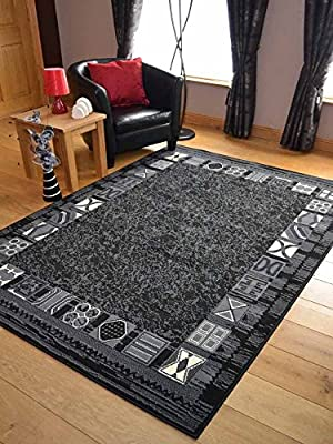 Trend Black Grey Border Design Rug. Available in 8 Sizes - low-cost UK light shop.