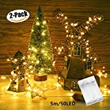 Stringa Luci LED, Chickwin Batteria Ghirlanda Luminosa 2PC Stellato Filo di Rame Decorativa Natalizie Bianco Caldo Per Natale Interno Famiglia Balcone Feste Nozze Party (5m/50LED)