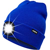 ATNKE LED Lighted Beanie cap, USB Running Hat Ricaricabile Ultra Bright 4 LED Waterproof Light Lampada e Allarme…