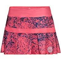 BIDI BADU Tennis Rock Damen inkl. integrierter Shorts - Coral - Falten Optik - Atmungsaktiv - Sport Rock - Skirt - Skort - Liza Tech Skort - Coral/darkblue (SP18)